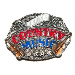 "Boucle de ceinture western country, motif "" country music ""."
